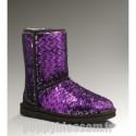 Abordable Ugg-179 court Sparkles Classique Purple Velvet multi Bottes