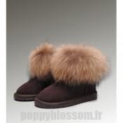 Absolument Ugg-188 Mini Fox Fur Boots de chocolat de bonne qualité