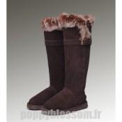 Cozy Ugg-221 bottes hautes de chocolat fourrure de renard