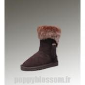 Favoris Ugg-222 court Fox Fur Boots de chocolat