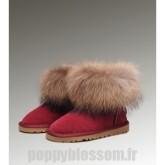 Flexible Ugg-192 Mini fourrure de renard bottes rouges