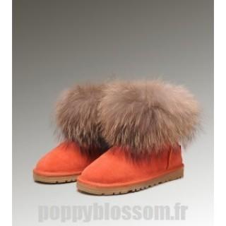 Mode Site Ugg-239 Mini fourrure de renard orange Bottes