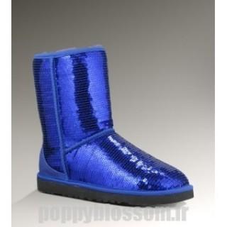 Ugg-145 court Sparkles Classic Bleu Bottes