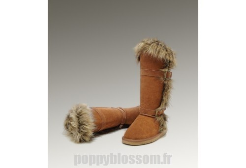 Durable Ugg-228 Grand fourrure Fox Chataigne Bottes
