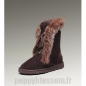 Achats Ugg-201 court Fox Fur Boots de chocolat