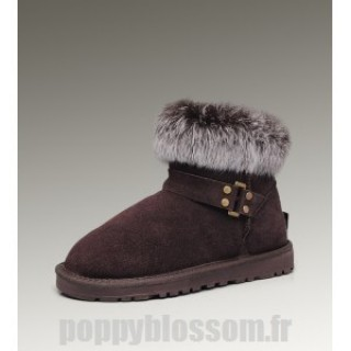 Acheter Ugg-238 Mini Fox Fur Boots de chocolat