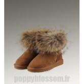 Les tendances de style Ugg-187 Mini fourrure de renard Chataigne Bottes