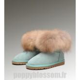 Ugg-189 Mini fourrure de renard Emerald Bottes