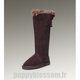 Ugg-215 bottes hautes de chocolat fourrure de renard