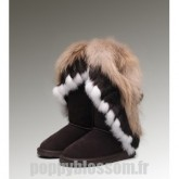 Ugg-219 bottes hautes de chocolat fourrure de renard